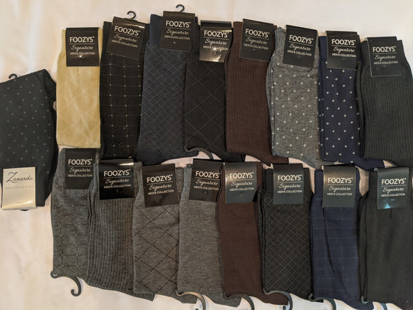17 Pair Men's Dress Sock Collection Bundle