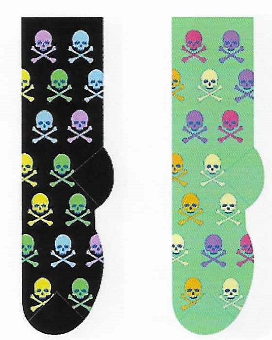 Colorful Skulls & Crossbones Socks  FC-134