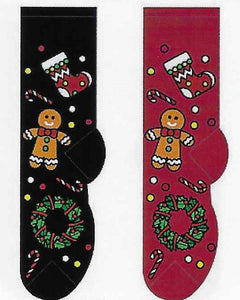 Gingerbread Cookie & Wreath Socks  FC-173