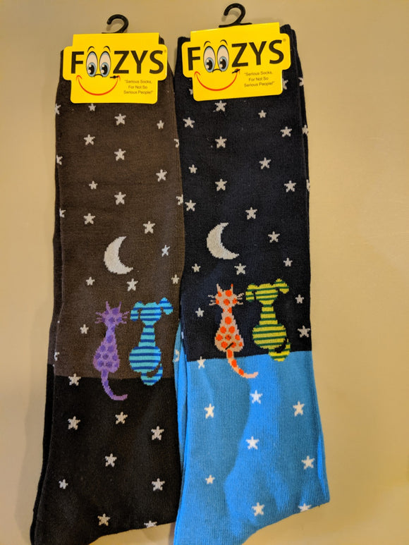 Cat & Dog Star Gazing KNEE HIGHS Socks  FK-01