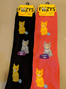 Cat & Yarn Ball KNEE HIGH Socks  FK-06