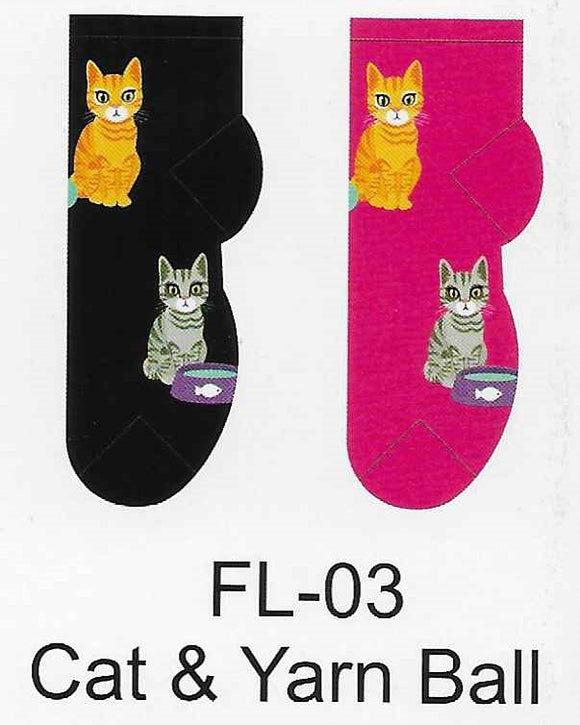 Cat & Yarn Ball No Show Socks  FL-03