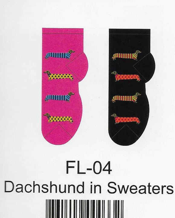 Dachshund in Sweaters No Show Socks  FL-04