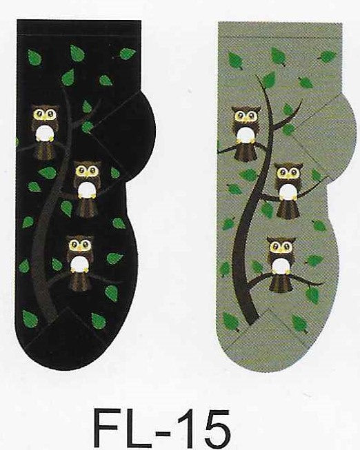 Owl Family Tree No Show Socks  FL-15