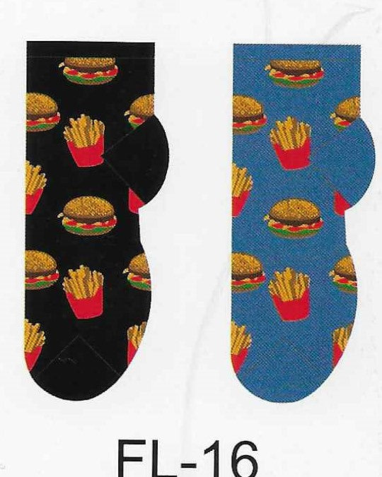 Hamburger & Fries No Show Socks   FL-16