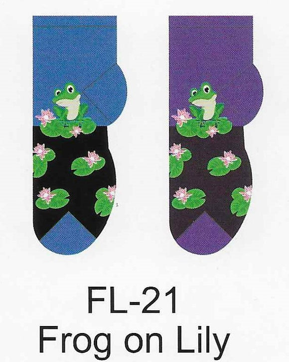 Frog On Lily Pad No Show Socks  FL-21