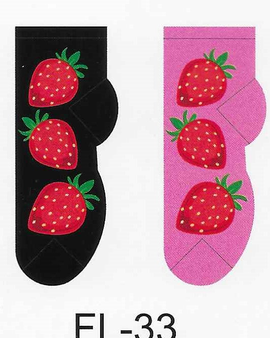 Strawberries No Show Socks   FL-33