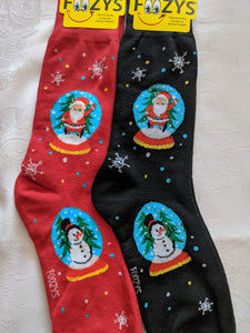 Santa & Snowman in Snowglobe Men's Christmas Socks MC-01