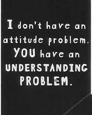 I don't have an attitude problem.  YOU have an UNDERSTANDING PROBLEM.    WYS-30   UNISEX