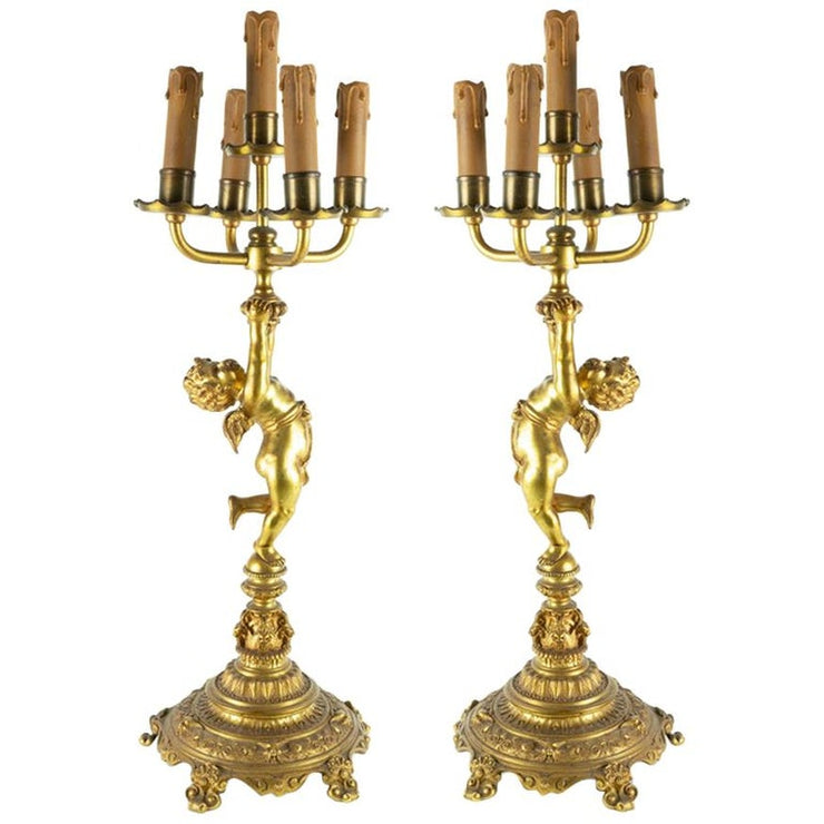 Large Pair of Antique Gilt Bronze Five-Arm Angel/Cherub Candlesticks