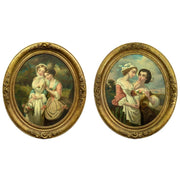 Pair of Antique Oval Oil Paintings in Original Gilt Frames