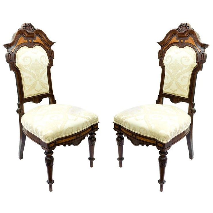 Pair of Antique Victorian Chairs with Bird's-Eye Maple and Walnut Frame