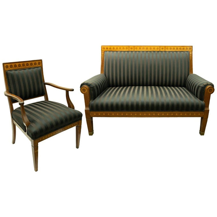 Antique Empire Style Settee and Chair with Marquetry