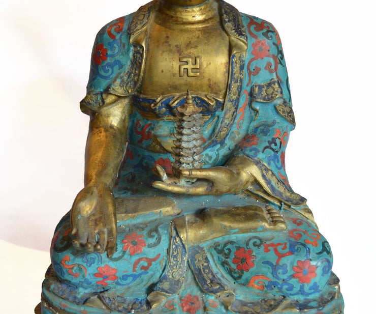 Large Chinese Gilt Bronze and Cloisonné Buddha's Seated on Lotus Flower