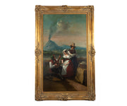 Large Original Antique 19th Century Oil Painting by Ignazio Sarti in Gilt Frame