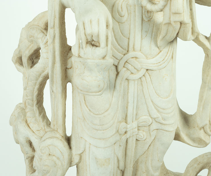Large Chinese Marble Quan Yin Standing Upon a Dragon