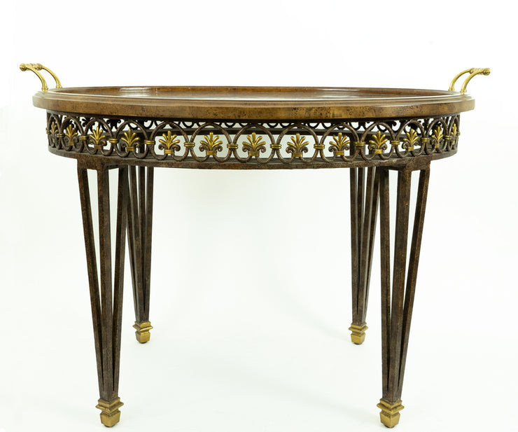 Maitland Smith Bronze Base and Inlaid Wood Tray Table