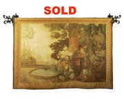 French Landscape Scene Handwoven Large Tapestry with Heavy Rod