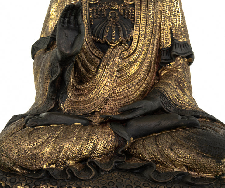 Large Chinese Parcel-Gilt Buddha Resting Upon Lotus Flower and Dragons