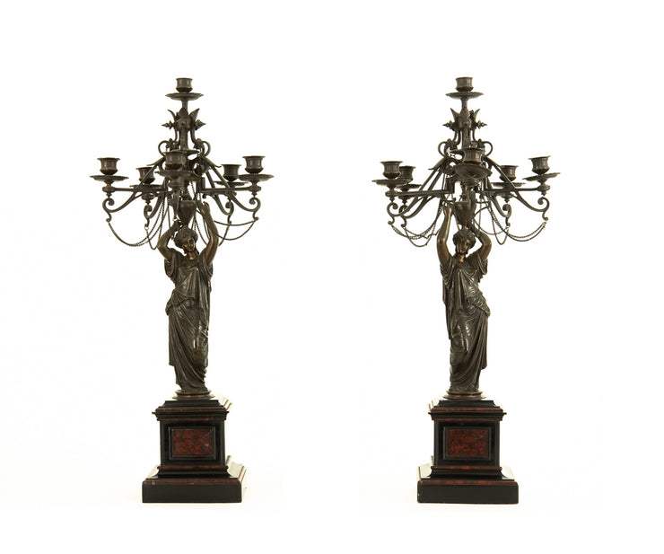 Pair of Antique French 19th Century Seven-Arm Empire Figural Candelabras