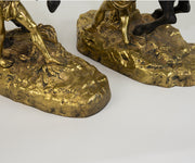 Pair of Signed French Gilt Bronze Marley Horses
