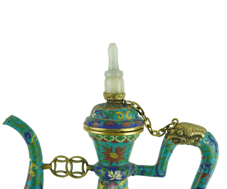 Chinese Mongolian, Style Cloisenne and Jade Ewer