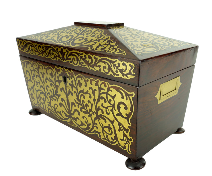 19th Century Boulle Rosewood Tea Caddy Box