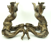 Vintage Bronze Merman Coffee Table with Oval Glass