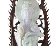 Chinese Jade Quan Yin with Rosewood Stand