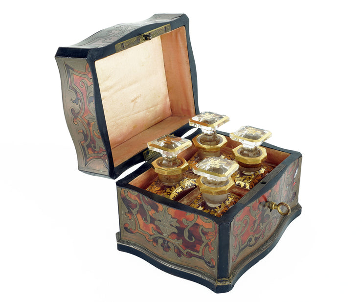 Antique French Boulle box with perfume bottle