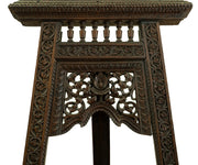 Tall Antique Asian Easel with Extraordinary Carvings
