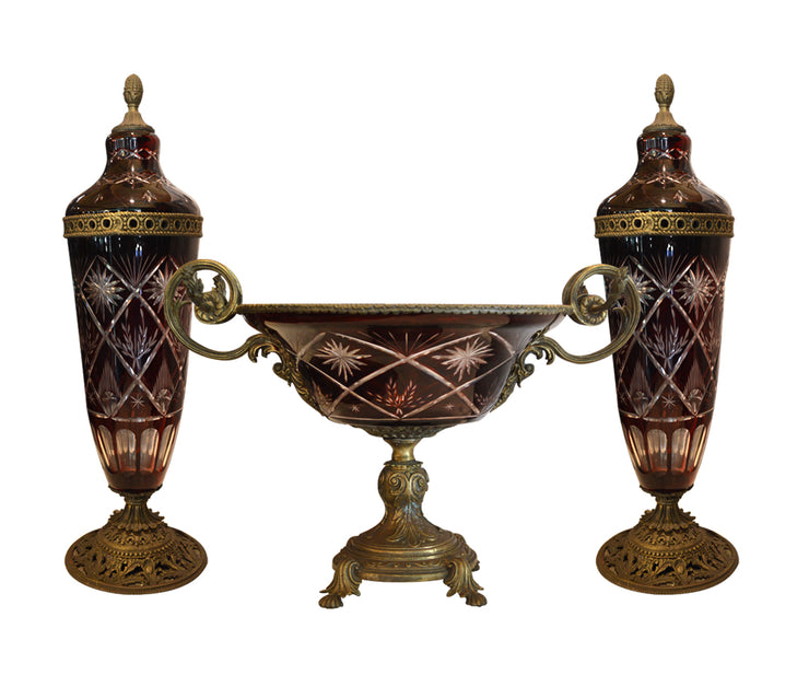 Three Pieces centerpiece Bohemian crystal