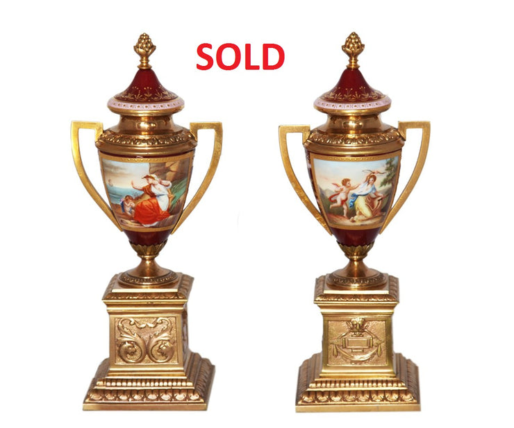 Pair of Royal Vienna urns