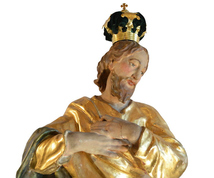 Important Large 18th Century Spectacular Carved Gilt Jesus Santos
