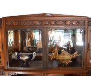 Antique French Walnut Buffet with Curved Glass