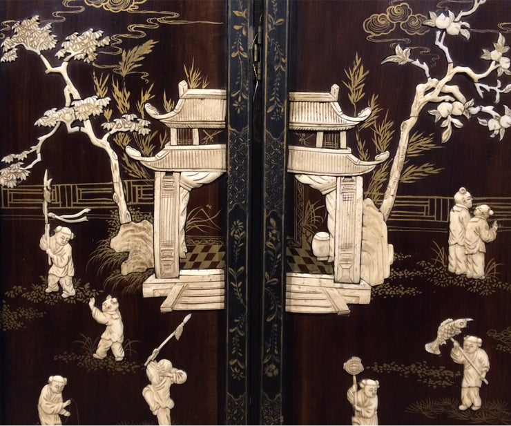 Antique Chinese lacquer & bone four panel screen