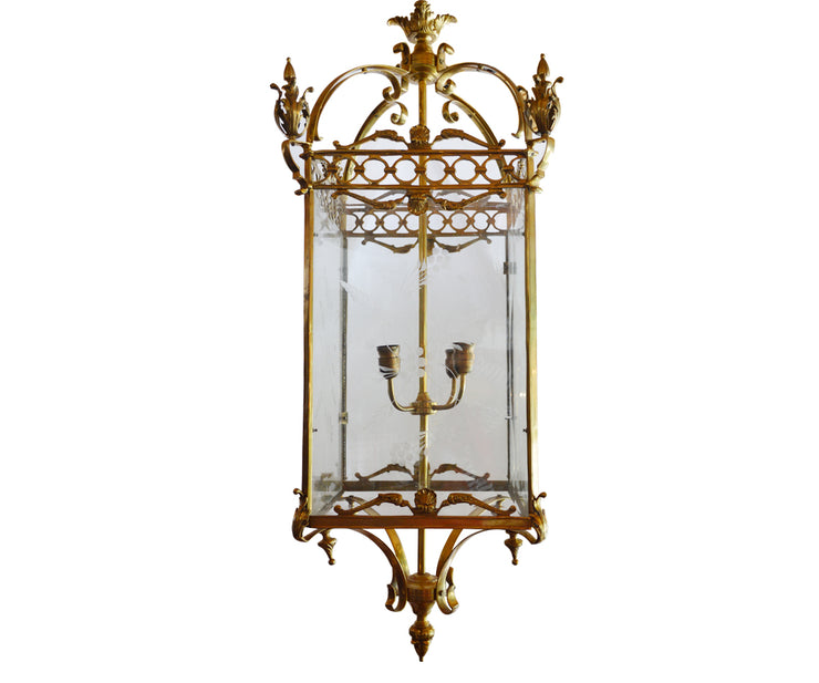 English dore bronze square lantern with eched glass