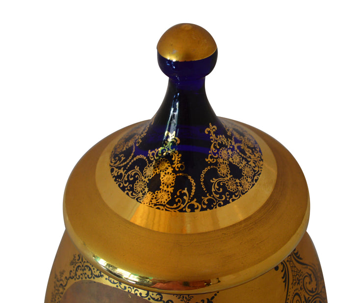 Hand-Painted Venetian Urn with Lid