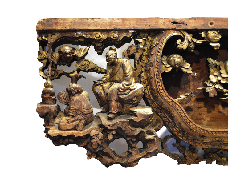 Antique Chinese Carved and Lacquered Gilt Panel