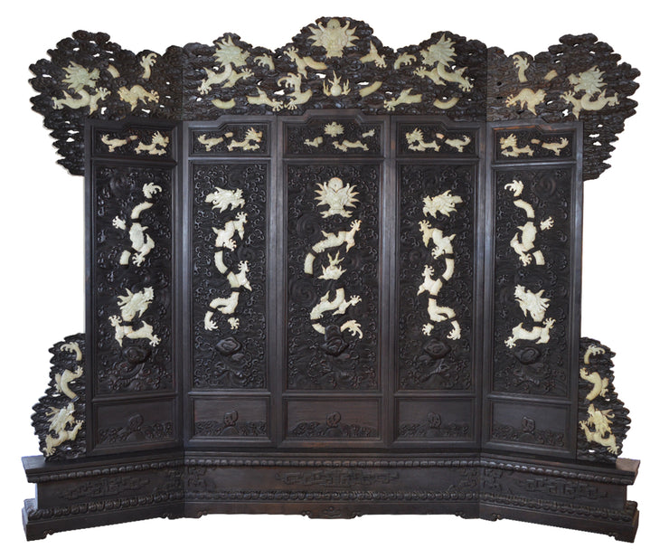 Massive Chinese Jade Screen with Jade Dragons Among Intricately Carved Clouds