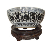 Large Antique Chinese Hand-Painted Bowl with Intricate Hand-Carved Wood Stand