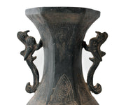 Antique Chinese Archaic Hexagonal Bronze Cast Vase Featuring Peacocks