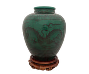 Chinese Yuan-Style Green Glazed Pottery Jar