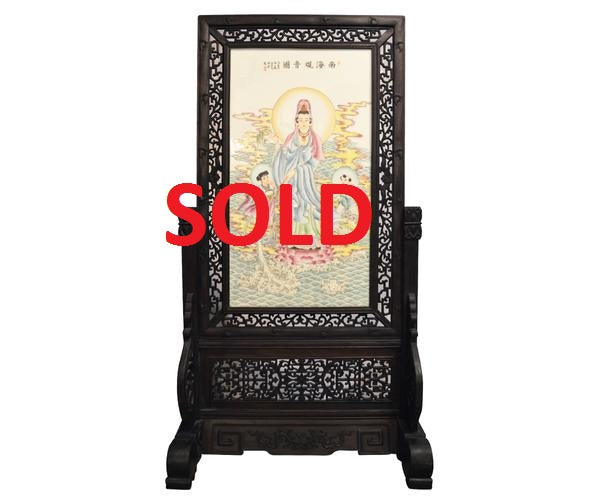 Large Chinese Table Screen with Hand-Painted Quan Yin and Hand-Carved Frame