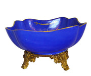 cobalt blue sevres porcelain bowl in gilt bronze