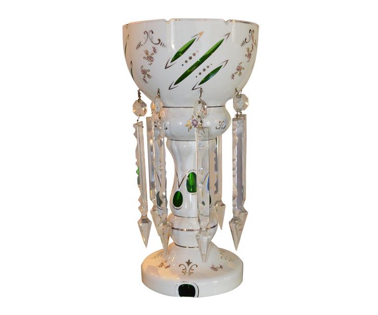 Bohemian urn with long crystal prisim