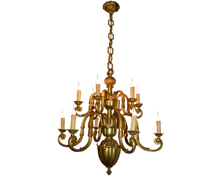Gilded bronze chandelier 12 lights