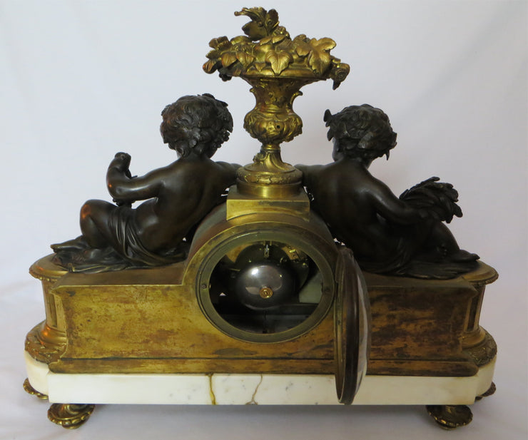Monumental French Gilt Bronze on Marble Base Mantle Clock