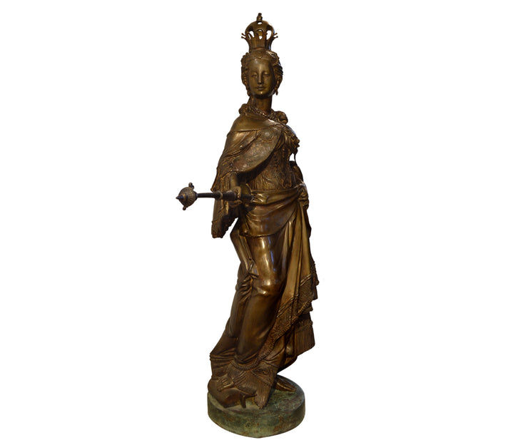 Important Large Bronze Crowned Royal Figure with Scepter