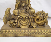 Chinese Bronze Quan Yin Statue with Buddha in Headdress